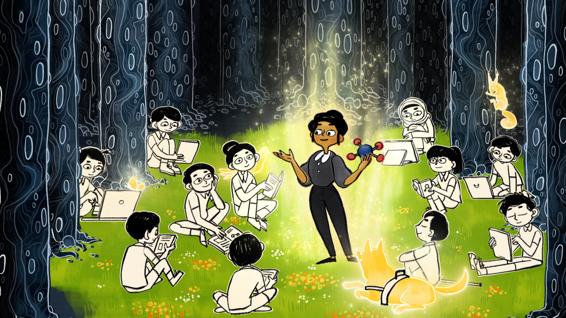Children and teacher learning in a forest (animation)